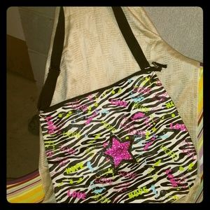 Zebra and neon paint tote